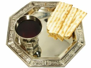 Passover wine and matzah